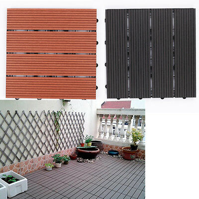 Wooden Plastic Composite Interlocking Decking Tile Patio Balcony Garden Flooring