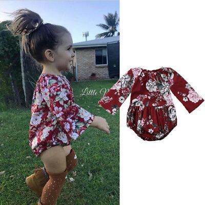 UK Stock Adorable Baby Kids Girls Cotton Floral Printed Bodysuit Romper Clothes