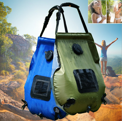 20L Solar Energy Heated Water Bag Shower  Portable Outdoor Hiking Camp Shower