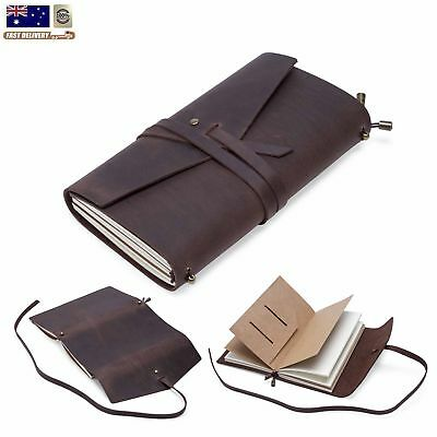 Retro Classic Leather Bound Journal Blank Diary Notebook Travel Notepad Vintage