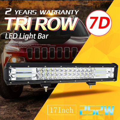 7D+Tri-Row 17'' 252W Combo LED Work Light Bar Spot Flood For Jeep Truck Boat SUV
