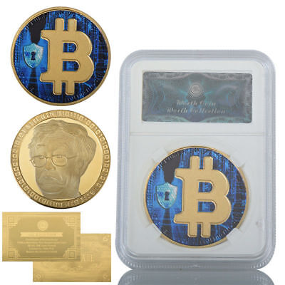 WR 2018 Bitcoin Physical Collectible Coin BTC Gold Coin /w Slab Holders