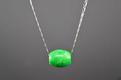 NICE NATURAL GREEN Jade Carved Chinese Lucky Barrel Pendant With Necklace