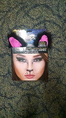 Moving Kitty Cat Ears Halloween Costume Fun Black Sound Activated by Elope NEW