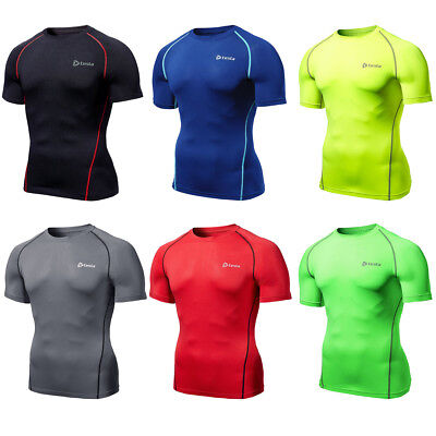 Compression Mens Sports Wear Gym Base layer Skins Breathable Short Sleeve Shirts