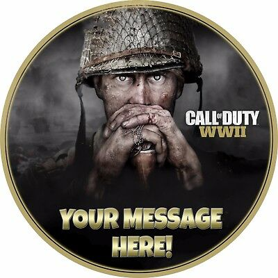 """A 7.5"""" Round Call of Duty (COD) WW2 Personalised Cake Topper ICING"""