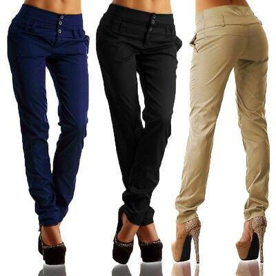UK STOCK Women High Waist Buttons Office OL Ladies Long Pants Trousers Leggings