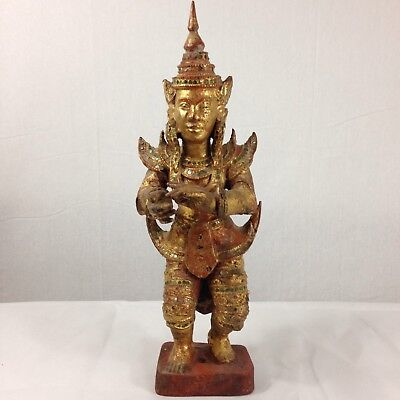 Vintage Carved Wood Gilt Dancing Figure Probably Thai 39cm Tall