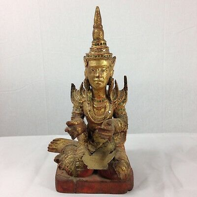 Vintage Carved Wood Gilt Kneeling Figure Probably Thai 30cm Tall