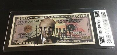 """President Donald Trump - Autographed """"federal Victory Note"""" In Holder - Cas Coa"""