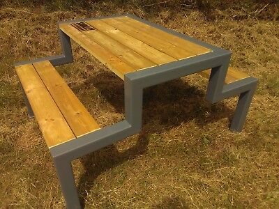 Terrific Bespoke Garden Picnic Bench With An Industrial Style And Beatyapartments Chair Design Images Beatyapartmentscom