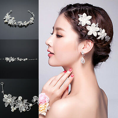 Hot Wedding Bridal Flower Crystal Pearls Hair Pin Hairpin Clip Headband Comb