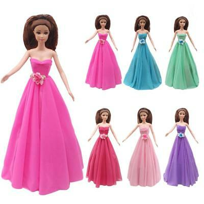 6pcs Handmade Dress Strapless Wedding Party Gown Clothes For Barbie Doll