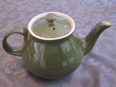"""Vintage HALL Olive Green Tea Pot with Lid - About 5"""" Tall Super nice!"""