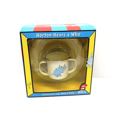 Dr Seuss Child Cup And Dish Set Horton Hears A  Who Enamelware Mib