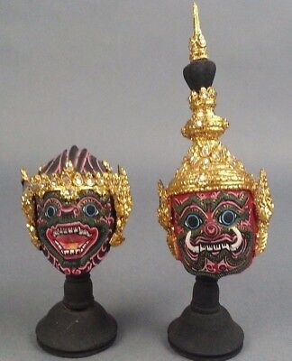 2pc Paper Mache Thai Tribal Mask with Gold Gilding and stand