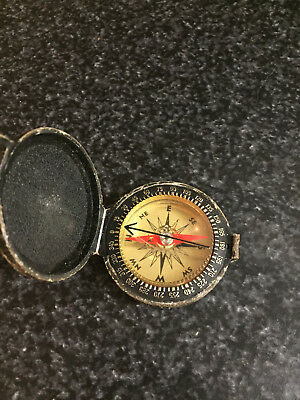 Vintage Taylor Black Leather Case Hiking Camping Compass