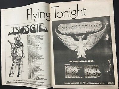 "Hawk Wind 1981 Ad 16X24"" For The LP ""Budgie"" Tour Dates ""Sonic Attack LP"