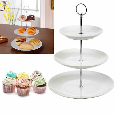 3 Tier Ceramic White Round Display Cake Stand Food Platter Serving Plate Holder