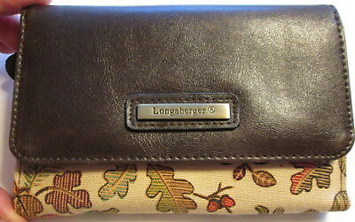 LONGABERGER AUTUMN LEAVES ACORNS WALLET CREDIT CARD ID PHOTO HOLDER Coin
