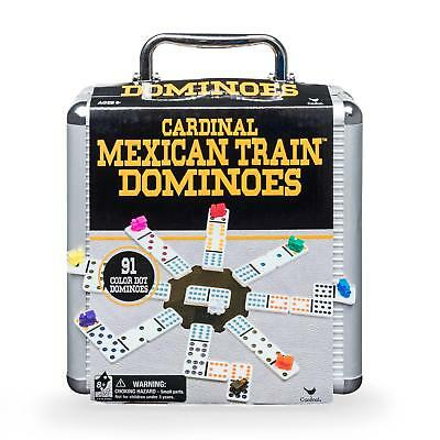 Mexican Train Dominoes & Aluminum Storage Case, played with 91 Double-12 Dominos