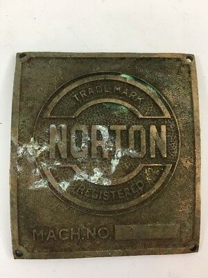 Vintage Name Plate Norton Machine Brass Tag ID Plaque Advertising Metal