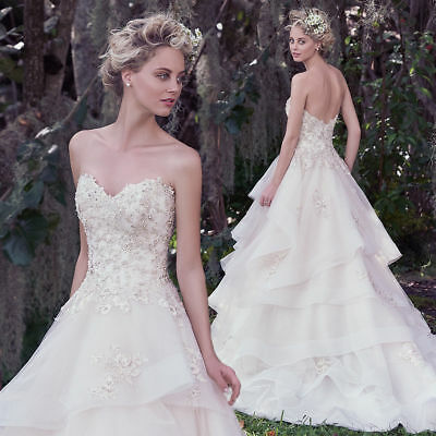 """Maggie Sottero Couture """"Katherine"""" Wedding Dress - Lt Gold - Size 8 ~ Ball Gown"""