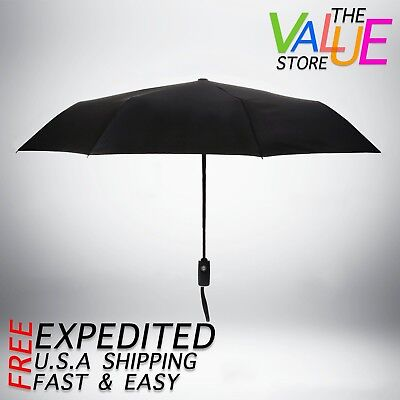Wood Handle Umbrella Windproof Fiberglass Auto Open Travel Folding Men Lady Out