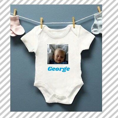 ADD PHOTO AND TEXT Baby Grow Bodysuit Personalised Baby vest gift
