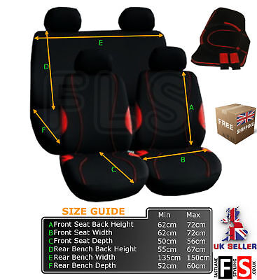 UNIVERSAL  FABRIC FULL SET CAR SEAT COVERS-HARNESS-MATS(Black/Red)-A128RF SMT