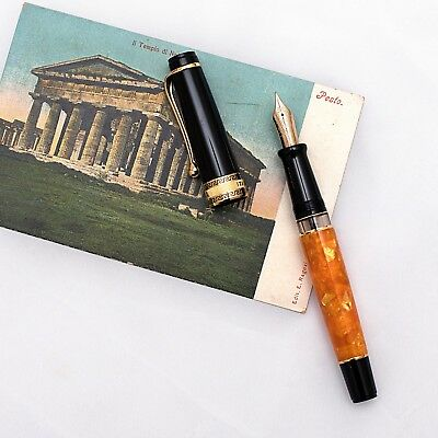 Aurora Optima O Sole Mio Orange & Gold Fountain Pen 14k F Nib *NEW RELEASE!*