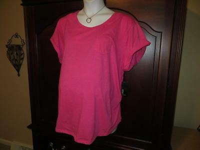 3X NEW Maternity Top Tee Pink Side Ruched A.N.A. Soft Front Pocket PLUS SIZE