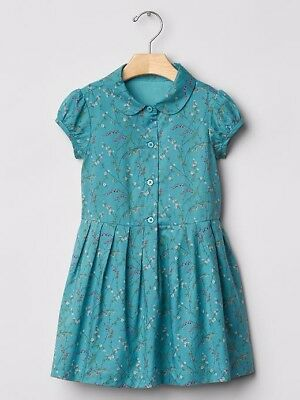 NWT BABY GAP Girls Toddler Blue Teal Pintuck Floral Flare Easter Spring Dress 5T