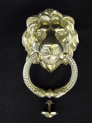"""Large LION Head DOOR KNOCKER, Cast Brass 5-1/2"""" Wide For a Grand Welcome! Nice"""