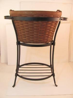 Longaberger LARGE BEVERAGE Tub Wrought Iron Stand Dark Basket & Protector