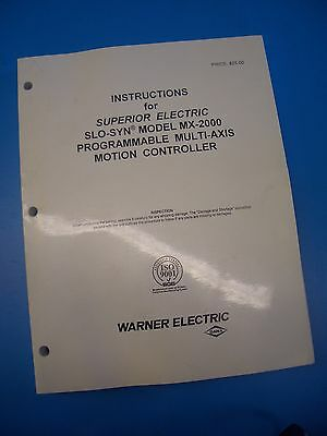 Superior Electric MX2000 SLO-SYN instruction book
