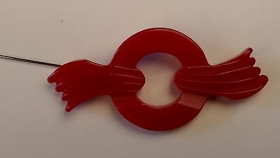 vintage cherry red deco bakelite pin brooch, tested, deeply carved and pierced