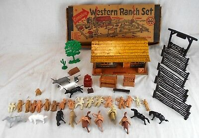 Marx Toys Western Ranch Set w/Lots of Accessories & Original Box
