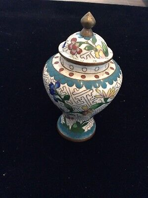 Antique Cloisonné hand painted brass lined jar NR