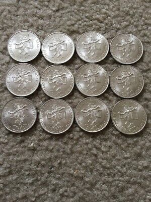 Lot of 12 1968 Mecican Olympic Commemorative 25 Peso Coins ~ 0.720 Silver