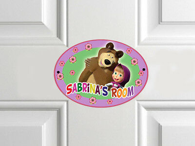 Masha and the Bear Personalised Door Name Plaque Plates Girls Bedroom Room Sign
