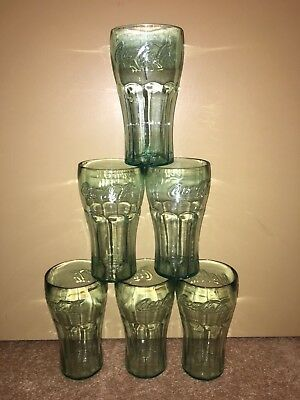 Lot of 6 Coca-Cola Coke Glasses Clear Tinted PLASTIC Cups Tumbler 26 oz