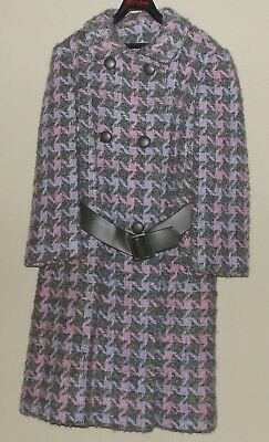 Vintage Country Tweeds Womens Ladies Coat Button Up Belted Peacoat Purple Gray