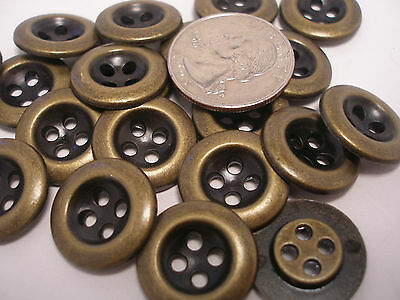 New lot of 12 antique Brass Finish Metal Buttons sizes  3/4, 9/16, 7/16  #AB4