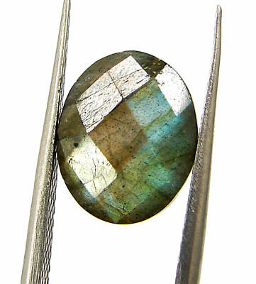 3.50 Ct Natural Labradorite Loose Faceted Gemstone Oval Checker Cut - 18816