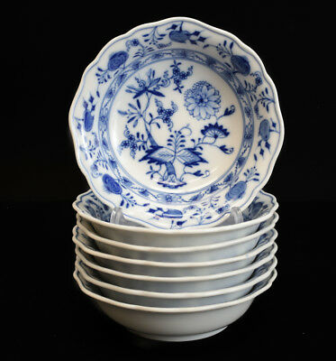 7pc Meissen Blue Onion Fruit Berry Dessert Sauce Bowls, blue on white, scalloped