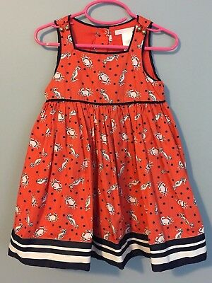 Janie and Jack Girls 2T Orange Navy Nautical Crab Seahorse Fit Flare Party Dress
