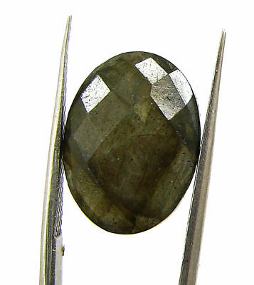 8.55 Ct Natural Labradorite Loose Faceted Gemstone Oval Checker Cut - 18780