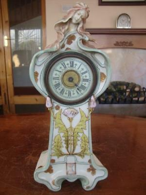 Fine Art Nouveau German Ernst Wahliss Porcelain Mantle Clock. C1900.