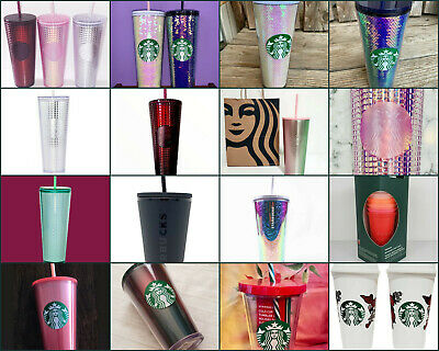IN HAND NEW Starbucks 2019 HOLIDAY STUDDED PINK IRIDESCENT Cold Cup Tumbler